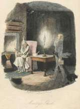 Original Illustration from a Christmas Carol -- Marley's Ghost