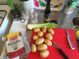 Making köttbullar and potatis in our kitchne